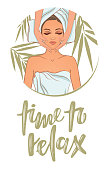 Vector illustration on the theme of beauty, self-care, spa center, relaxation. Can be used for business cards, flyers, beauty salons.