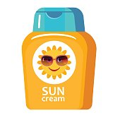 Sunscreen cream in tube with image of funny cartoon sun. Flat icon. Vector illustration isolated on white background