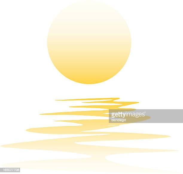 Vector illustration of sunset reflection on water
