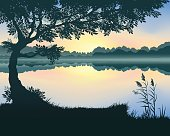 Vector illustration of landscape with a lake at dawn
