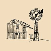 Vector illustration of traditional american farm barn with windmill in hand sketched style. Organic bio products poster. Eco food sign.