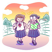 Vector illustration of two elementary schoolgirls chatting while walking home after school in the evening, one girl with glasses reading the book