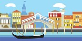 Illustration of Venice cityscape in simple style. Traditional Italian landscape. Houses in the old European style. River channel and boat.