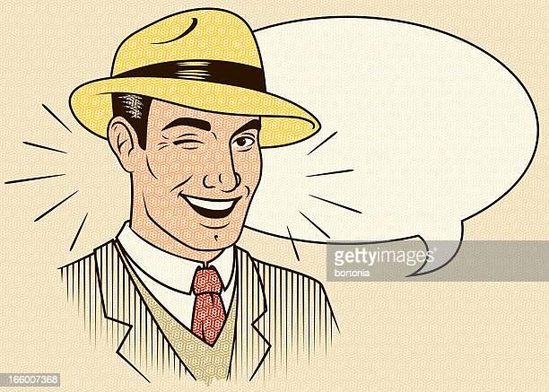 Vector illustration of winking man
