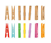 Vector illustration of wooden and clothespin collection on white background. Clothespins in different bright colors and positions for household in flat style