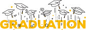 Vector illustration of word graduation with graduate caps on a white background. Caps thrown up. Congratulation graduates 2017 class of graduations. Line art design of greeting, banner, invitation car