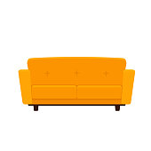 Vector flat illustration of yellow colored couch isolated on white background