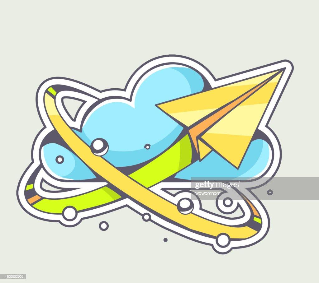 Vector illustration of yellow paper plane flying around cloud : Vector Art