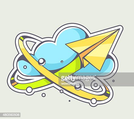 Vector illustration of yellow paper plane flying around cloud : Vector Art