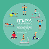 Vector illustration of young people doing workout with equipment. Flat design . Infographic