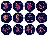 Collection of All Zodiac Signs. Vector illustration of Zodiac Signs on Night Starry Sky Background. Aries, Taurus, Gemini, Cancer, Leo, Virgo, Libra, Scorpio, Sagittarius, Capricorn Aquarius Pisces