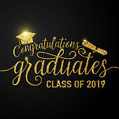 Vector illustration on black graduations background congratulations graduates 2019 class of, glitter, glittering sign for the graduation party. Typography greeting, invitation card with diplomas, hat.