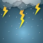 Vector illustration rain with thunderbolt , paper art style