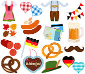 Vector illustration set of cute Oktoberfest Dirndl Lederhosen dress food beverage during party festival on white background
