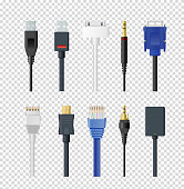 Vector illustration set of different plugs and wires, color various audio connectors and inputs collection on transparent background