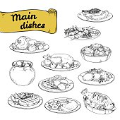 vector illustration set of main courses for design of restaurants and cafes. set hand-painted sektchey meat and fish dishes with side dishes of European cuisine.vector illustration set of main courses