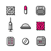 Vector illustration set of medicine icons about contraceptive methods (oral pills, diaphragm, condoms, calendar)