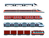 Vector illustration set of modern passenger trains. Subway transport, high speed trains and underground train. Metro train in flat style
