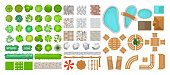 Vector illustration set of park elements for landscape design. Top view of trees, outdoor furniture, plants and architectural elements, fences, sun loungers, umbrellas isolated on white background iso
