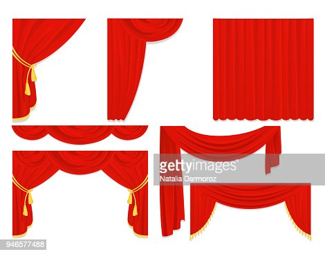 Vector illustration set of red silk curtains, velvet draperies, interior decoration design isolated on white color in flat design. : stock vector