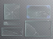 Vector illustration set of transparent glass plates with cracks, cracked panels with metal accessories isolated on translucent background