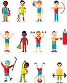 Lifestyle icons set people playing sports, sport games, workout.  Set for idea advertise Health.