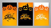 Vector illustration: Three vertical design layout of poster or flyer with Handwritten lettering of Halloween