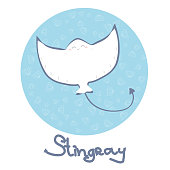 Cute stingray pattern vector background