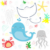 Cute sealife underwater vector illustration background