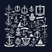 Set of 25 nautical-themed vector illustrations. These retro-inspired nautical illustrations feature various designs that are related to ships, sailing and the sea.