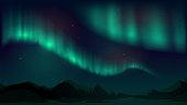 Vector illustration with aurora borealis, northern starry night, dark night sky, north pole, mountain landscape