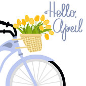 Vector illustration with bicycle and tulips in flat style. Text hello april