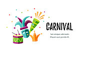 Vector illustration with carnival and celebratory objects. Template for carnival, invitation, poster, flayer, funfair