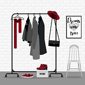 Vector illustration with coat rack. Closet with clothes, bags, boxes and shoes in flat style