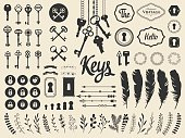 Vector illustration with design illustrations for decoration. Big silhouettes set of keys, locks, wreaths, illustrations, branch, arrows, feathers on white background. Vintage style.