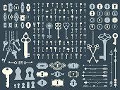 Vector illustration with design illustrations for decoration. Big silhouettes set of keys, locks, arrows, illustrations on dark blue background. Vintage style.