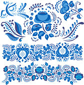 Vector illustration with gzhel floral motif in traditional Russian style isolated on white and ornate flowers and leaves in blue and white. Floral elements in ornament painting for folk craft design.