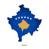Vector illustration with Kosovo national flag with shape of this map (simplified). Volume shadow on the map.