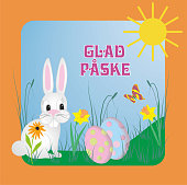 Cute rabbit-bunny in surrondings with sun, eggs, butterfly and daffodils.