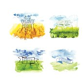 Set of simple watercolor landscape with fields and farms. Vector illustration of nature in a Provencal style. Organic farms.