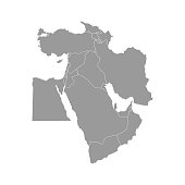 Vector illustration with simplified map of Asian countries. Middle East. States borders of Turkey, Georgia, Armenia, United Arab Emirates, Saudi Arabia, Qatar, Oman, Iran, Israel. Grey silhouette