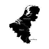 Vector illustration with simplified map of European BeNeLux states (Belgium, Netherlands, Luxembourg). Black silhouettes, white background