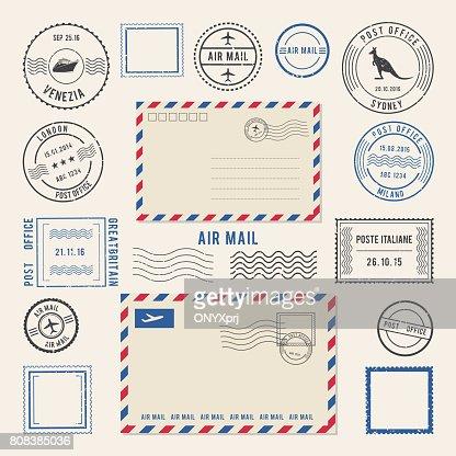 Illustrations vectorielles des lettres et des cachets de la poste, poste aérienne dessins. Timbres anciens : clipart vectoriel