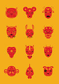 All 12 Chinese Zodiacs were created in icon form, they are separated and grouped to easily be changed in different designs.