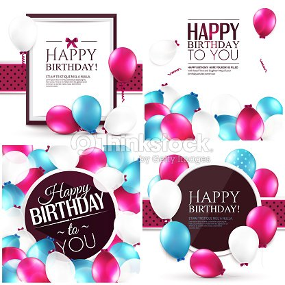 Vector illustrations. Set of colorful birthday cards.