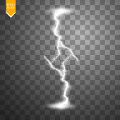 Transparent light effect of electric lightning.The indomitable power of natural energy. Vector illustration.