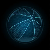 Vector image of a basketball ball made of illuminated shapes. Sport illustration consisting glowing lines, points and polygons in the form of a ball for streetball. Abstract 3D neon wireframe concept.