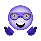 Vector image of a happy smiley in virtual reality glasses of a new generation with controllers in hands in ultra violet color.
