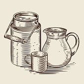 Vector image of a milk canister, a jug for milk and a cup