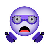 Vector image of a surprised smiley in virtual reality glasses with a new generation of controllers in hand in the ultraviolet color.
